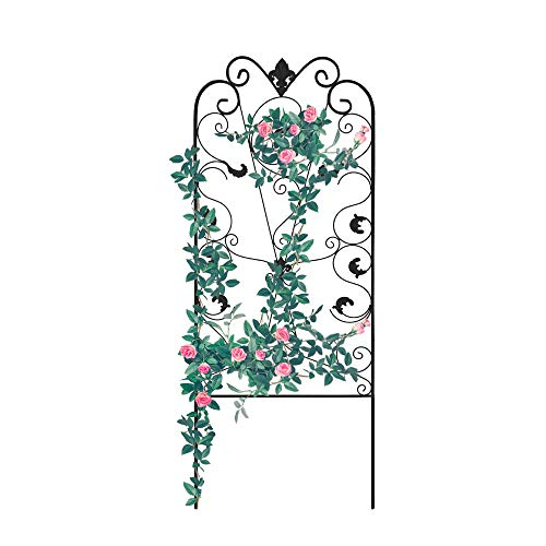 Garden Trellis for Climbing Plants 60 x 24' Rustproof Black Iron Potted Vines Vegetables Flowers Metal Wire Lattices Grid Panels for Ivy Roses Cucumbers Clematis Pots Supports