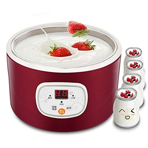 AMMZON Máquina para Hacer Yogurt Máq, Inoxidable Eléctrica para Hacer Yogur DIY Yogurtera con Tarros Máquina De Yogur Automática para El Hogar, La Oficina, Los Viajes