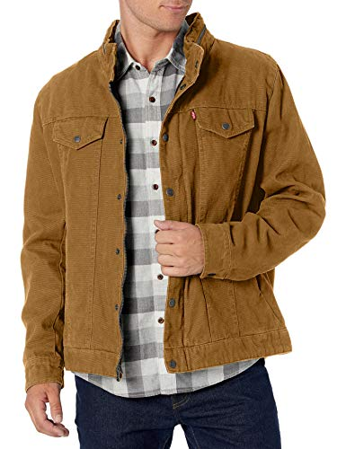 Levi's Men's Cotton Canvas Commuter Trucker, Workers Brown, Large
