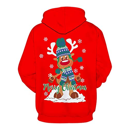 Maglione Natale Uomo Felpe Uomo Con Cappuccio Natalizio Donna Maglioni Stampa Natalizi Divertenti Ragazza Maglione Natale Renna Invernali Sportive Felpa Natale Uomo Donna Xmas Reindeer Buon Natale