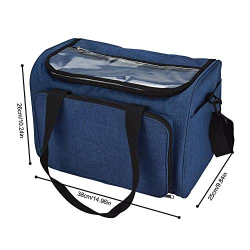 cheerfullus Large Knitting Bag - Portable Yarn Storage Organizer with Clear Cover and Multiple Pockets for All Your Knitting Accessories