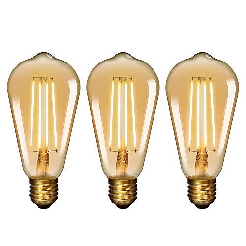 Lamparas Bombillas Edison de Filamento de LED E27 6W ST64 Vintage Retro Antigua Luz Calida 2400K Equivalente 60W Bombillas Incandescentes AC220~240V Pack de 3 de Enuotek