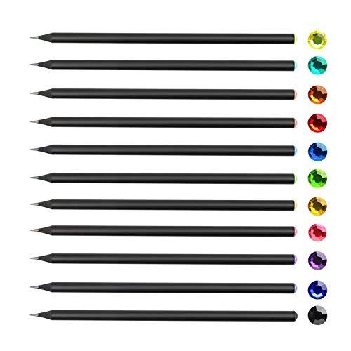 LVTONG Faber Castell Bleistift Kinbor 12 Teile/Satz Kinbor Bleistifte Diamant schwarzes hölzernes vorgeschärft Diamant Hb # 2 Bleistifte zum Zeichnen Bleistift