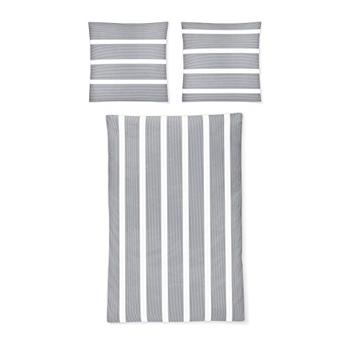 Irisette 8763/11 Eos Mako-Satin Bettwäsche Set trocknergeeignet und bügelleicht, Groesse OneSize, grau/weiß gestreift