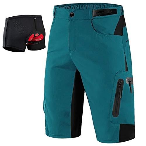 LXZH Radhose kurz Herren Set, Radlerunterhose Gepolstert Gel 5D, Atmungsaktiv Downhill MTB Hose mit Sitzpolster,Blau,XL
