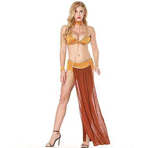 DaMohony Disfraz sexy de princesa esclava y seorita modales, disfraz de princesa Leia prisionera para adultos