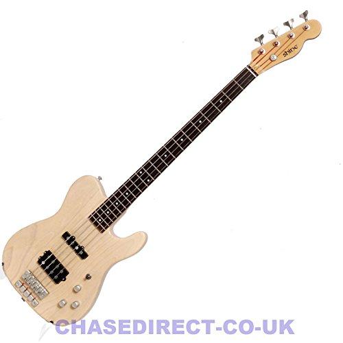 Shine by Chase Telecaster Electric Bass Guitar SBA-714 Natural Blonde Humbucker Pickup