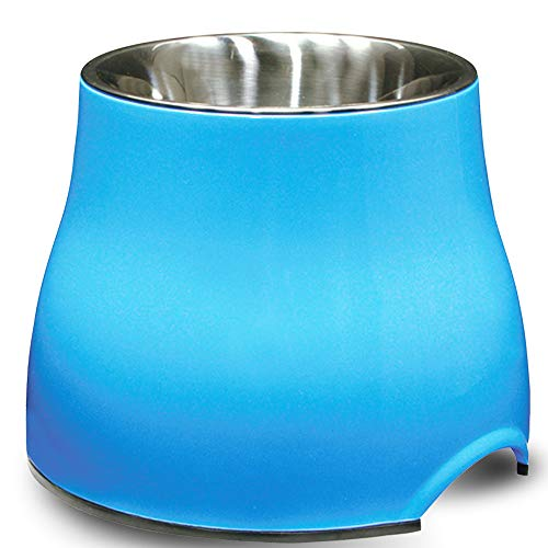 Dogit Elevated Dog Bowl, Stainless Steel Food & Water Dish for Dogs, Large, Blue