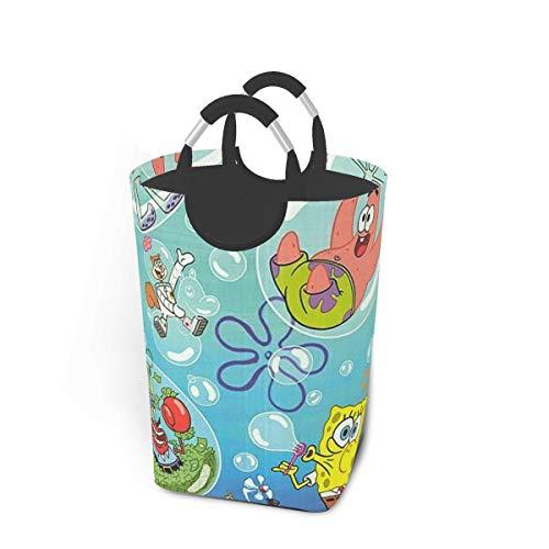KSHGZH Laundry Basket Collapsible Laundry Hamper - Spongebob and Squidward Tentacles Clothes Bag Storage Basket, Folding Washing Bin 50l