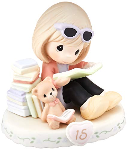 Precious Moments 162014B Estatueta de porcelana bisque cresce na graça, idade 15 anos de idade