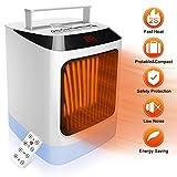 HALUM Radiateur soufflant,Mini-chauffage avec thermostat à affichage à LED,Chauffage 2s, protection contre la surchauffe et le basculement,Avec télécommande, Sécurité pour le bureau et la maison