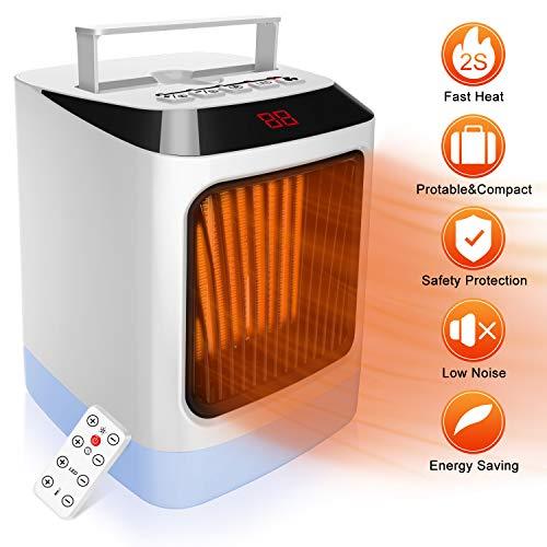 HALUM Termoventilatore, Mini LED riscaldatore con termostato indicatore,Temperatura...