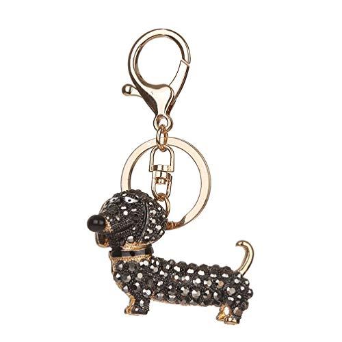 VALICLUD Llavero de Perro de Diamantes de Imitación Brillante Llavero con Encanto de Caniche Animal de Cristal Llavero de Coche Colgante de Perro Cachorro para Mujeres Y Niñas