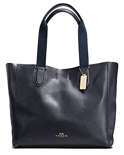 COACH LARGE DERBY TOTE IN PEBBLE LEATHER IMITATION GOLD / MIDNIGHT F59818