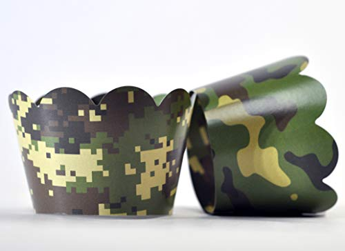 Camouflage Cupcake Wrappers for Gender Reveals, Baby Shower Party Supplies, Boy/Girl Birthday Parties, Hunting or Military Themed Parties. Set of 24 Reversible Soldier to Digital camo Pattern