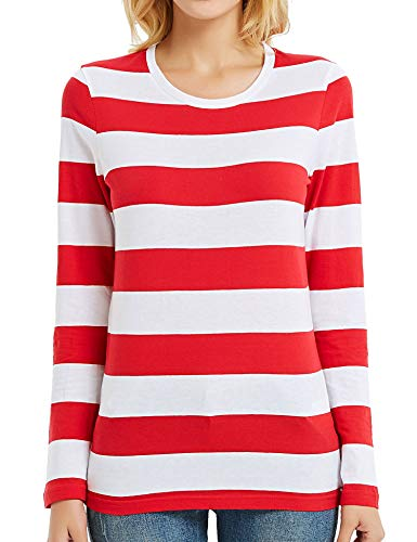 Long Sleeve T Shirt Women Wide Striped Tee Crew Neck Red and White Stripes XL