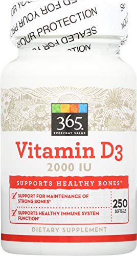365 Everyday Value Vitamin D3 2000 IU 250 ct