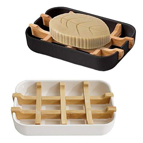 2 Stück Seifenschale Bambus Seifenhalter Bambus Seifengitter Naturholz Seifendose aus Holz 100% natürliche Seifenablage Abnehmbar Seifenhalterung für Seife Badezimmer Dusche Küche (2 Farben)