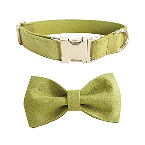 YSJJLRV Correa Color de té Verde Collar de Perro y Leash Conjunto con Corbata de Lazo Botones de Metal convenientes Accesorios para Mascotas para Mascotas (Color : Collar Bow, Size : L)