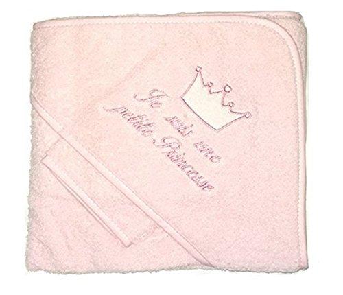 NISSANOU ® Serviette Cap Sortie de bain bébé idée cadeau naissance bébé maternité ou idée annonce de grossesse (ROSE PRINCESSE)