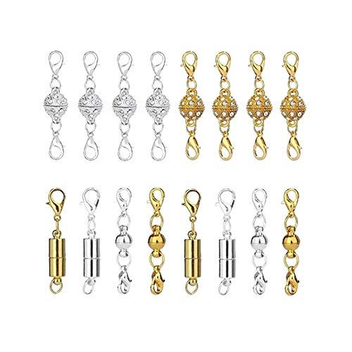 RJJX 16 unids Cilíndrico Abarnoidismo Inelido Rhinestone Accesorios de Hebilla de Oro y Plateado Collar de joyería DIY (Color : Silver Color Gold)
