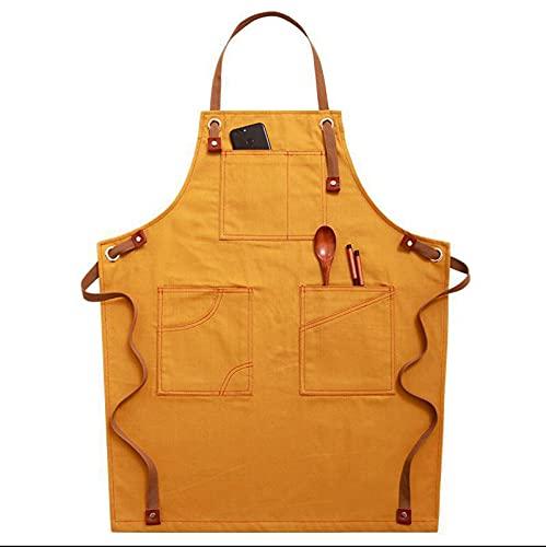 QQYY Delantal de Cocina para Hombres y Mujeres, Tela de Mezclilla Ajustable Delantal Babero con 3 Bolsillos Delantal de Cocina Unisex para Chefs, panaderos, Hotel, Restaurante y cafés,Amarillo