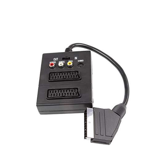 Scart-Stecker/ 2X Scart-Buchse/Kupplung auf 3 Cinchbuchsen und 4-Pin Mini-DIN Buchse/S/VHS IN/Out mit Schalter, Scart auf Cinchkupplung + 4 polige Minibuchse, analoger Video/Audio Adapter, schwarz