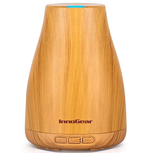 InnoGear Oil Diffuser, Super Quiet Essential Oil Diffuser Aromatherapy Diffuser Ultrasonic Humidifier with Sleep Mode, Waterless Auto-Off 8 Colors Light for Home Office Bedroom Room Baby, Yellow