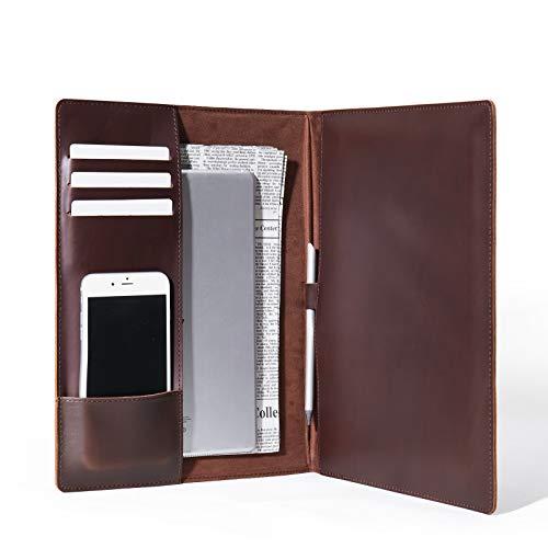 Jeereal Geniune Cowhide Leather Padfolio Portfolio Folder, Leather Organizer,Business Folio, Notepad Holder (Coffee)