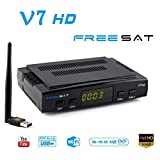 FREESAT V7 HD DVB-S2 Receptor TV Satélite Decodificador Digital Satelite con Antena WiFi USB / 1080P Full HD Soporte PVR CC CAM
