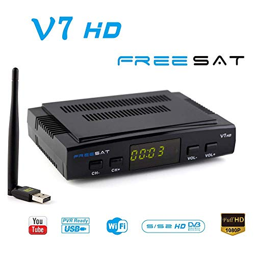 FREESAT V7 HD DVB-S2 Receptor TV Satélite Decodificador Digital Satelite con Antena WiFi USB / 1080P Full HD Soporte PVR Cccam
