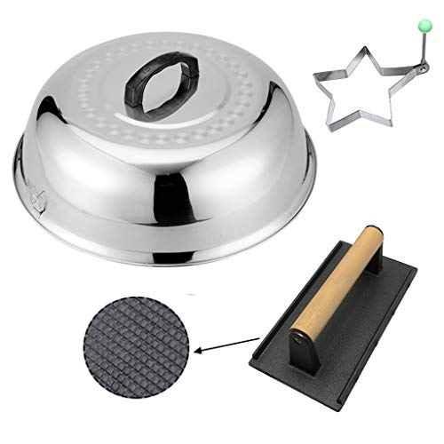 ZHOUWHJJ BBQ Stainless Steel 12' Round Basting Cover Cheese Melting Dom+ Heavy-Weight Cast Iron Grill Press/Hamburger Bacon Steak Grill Press, Best for Flat Top Griddle Grill Outdoor Camping