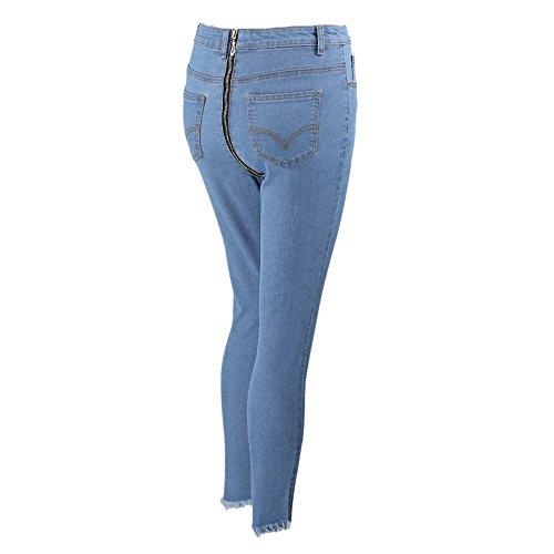 hibote Jeans Damen Straight Jeanshose High Waist Stretch Denim Hosen Mit Hinterem Reißverschluss Sexy Bleistift Hose Casual Jeanshosen
