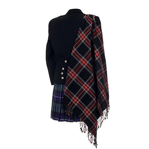 The Scotland Kilt Company Neu Tartan Schottische Purled Fransen Budget Fly Plaid für Kilts in Palette mit Tartans - Schwarz Stewart, Einheitsgröße