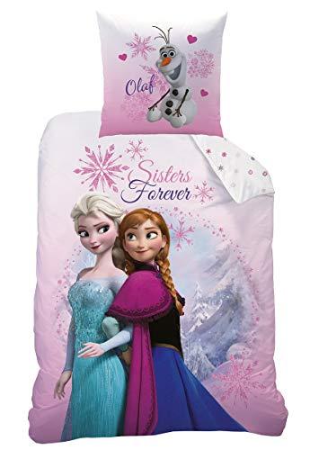 Biber / Flanell Bettwäsche-Set Disney Eiskönigin 135x200 80x80 100 % Baumwolle Königin Elsa und Schnee-Mann Olaf Frozen 2 Pink Mountain