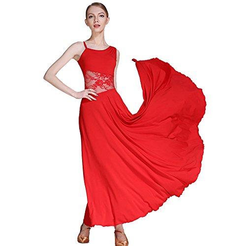 Q-JIU Falda De Baile De Salón De La Falda De Las Mujeres De Satén Elástico Asimétrico Collar De Costura Diseño Un Tipo De Falda,Red,XL
