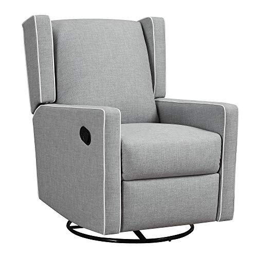 Baby Relax Sarya Swivel Glider Chair for Nursery, Gray Recliner