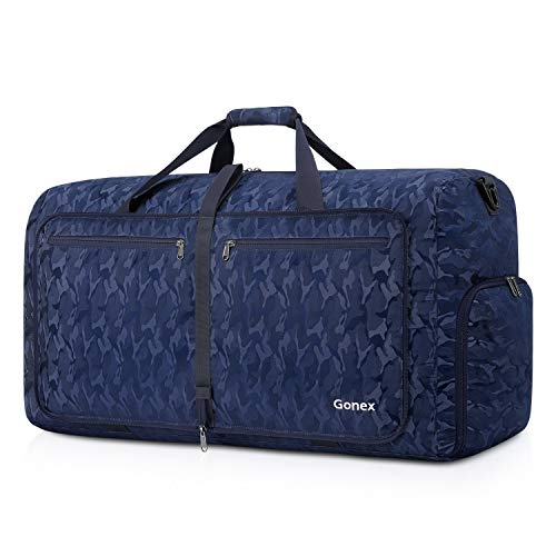 Gonex 80L Packable Travel Duffle Bag Foldable Cordura Duffel Bags for Luggage Gym Sports Camping Travelling Cycling Storage Shopping Water & Tear Resistant Black and Blue Camouflage