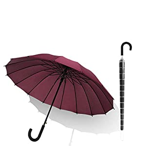 Thinlife 長傘 台風豪雨対策 UVカット 日傘 遮光 UPF50+ 日焼けを防ぎ (PVC防水カバー付き) 晴雨兼用傘 メンズ レディース 16本骨 大型 ワンタッチ