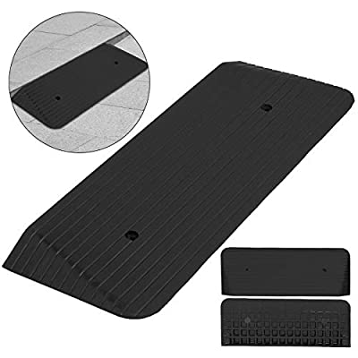 "Mophorn 2 Pack Rubber Curb Ramp 4.1"" Height 16.7"" Width Rubber Threshold Ramp Heavy Duty Rubber Ramp for Loading Dock Wheelchair Driveway"