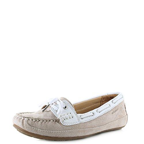 Sebago Bala Womens Slip On Shoes 40.5 EU Beige Taupe Suede White Leather
