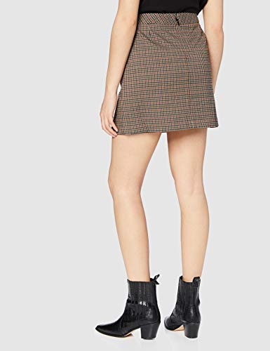 Marca Amazon - find. Check Suit Skirt - Falda Mujer, Marrón (Brown Check), 40, Label: M