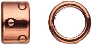 10pcs Braided Licorice Leather Charm, Antique Brass-plated, Zik Zak Dots Patterned Circlet Tube Slider Beads