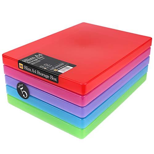 WestonBoxes A4 Slim schlagfest, Robuste Kunststoff-Verpackung oder Aufbewahrungsbox für A4-Papier
