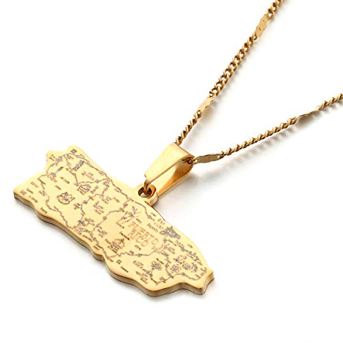 Stainless Steel Puerto Rico Map Pendant Necklaces Puerto Ricans Map Jewelry (Gold)