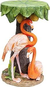 Kare Design Beistelltisch Animal Flamingo Road Ø36cm farbenfroher Beistelltisch mit Flamingo Figuren und Palmen Optik, bunter kleiner Tisch, in verschiedenen Tiermotiven erhältlich (H/B/T) 52x36x36cm