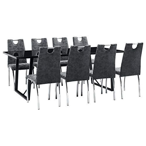 vidaXL Essgruppe 9-TLG. Esszimmergarnitur Esstischset Tischset Sitzgruppe Esszimmertisch Küchentisch Esszimmergruppe 8 Stühle Schwarz Kunstleder