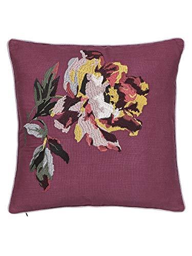 Joules Country Ramble Check Cushion Plum, 100% COTTON SLUB, 40 x 40 cm