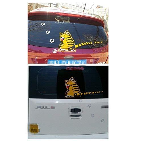 SwirlColor Gelbe Katze Auto Heck Scheibenwischer Abziehbild Aufkleber 1 Stück (Gelb)