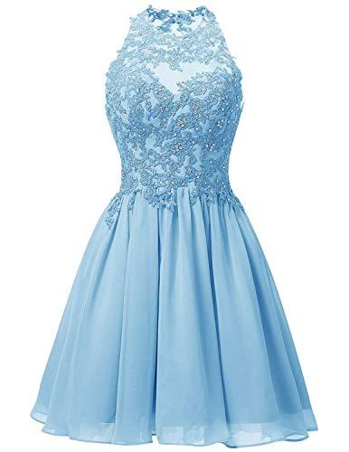 JAEDEN Ballkleider Hochzeitskleider Kurz Brautjungfernkleid Chiffon Spitze Neckholder Blau EUR32